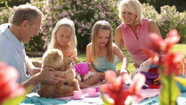 Grandparents and two granddaughters having teddy bears picnic in park. Royalty-free stock video