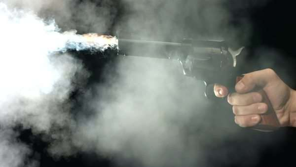 Gun shooting, slow motion Royalty-free stock video