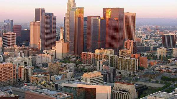 Los Angeles, California, USA - March 22, 2012: Aerial shot of downtown Los Angeles at sunset Royalty-free stock video