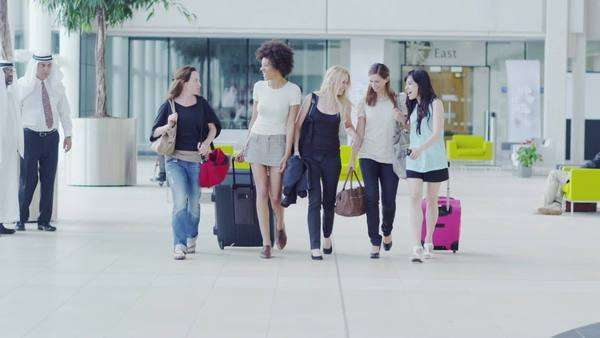 Holiday tourists at the airport Royalty-free stock video