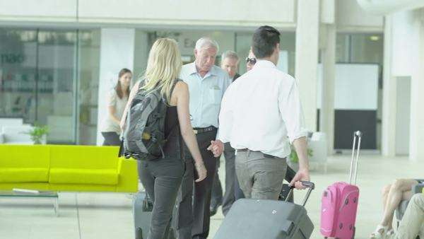 Holiday tourists in international airport Royalty-free stock video