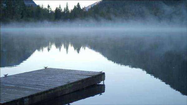 Dock and mist over still water Royalty-free stock video