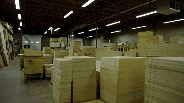 Wide shot of furniture manufacturing plant, dolly shot Royalty-free stock video