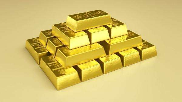 3D animation of stacked gold bars Royalty-free stock video