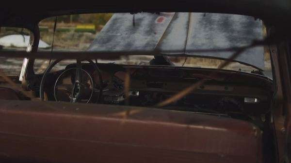 Tracking shot of abandoned car interior Royalty-free stock video