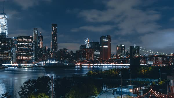 Lower Manhattan At Night From Brooklyn Heights Promenade 4k Hyperlapse Sequence Of New York City At Night Shot In Brooklyn Stock Video Footage Dissolve