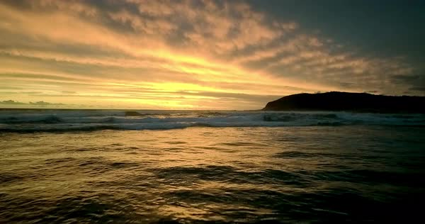 Wide shot of the ocean at sunset in South Africa Royalty-free stock video