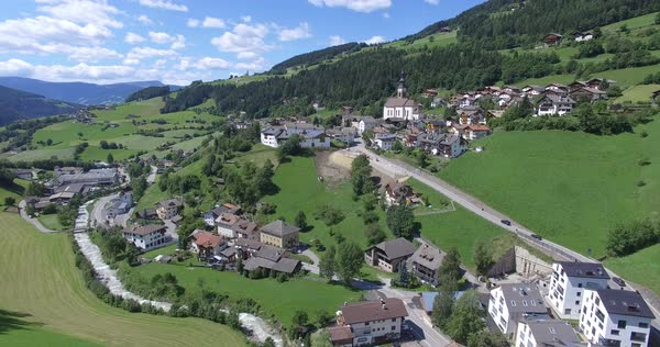 Aerial shot of a village in Val di Funes, Italy Royalty-free stock video