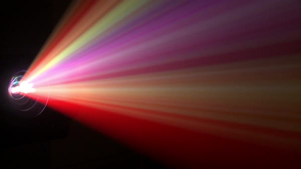 Close Up Shot Of Multicolored Light Beams From A Video Projector Stock Video Footage Dissolve