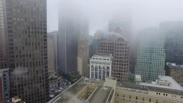 Wide shot of foggy downtown San Francisco CA, USA Royalty-free stock video