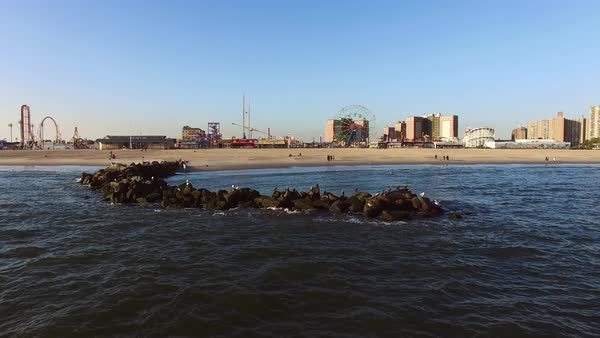 Wide shot of Coney Island Royalty-free stock video