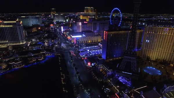 Aerial shot of Las Vegas Strip at night Royalty-free stock video