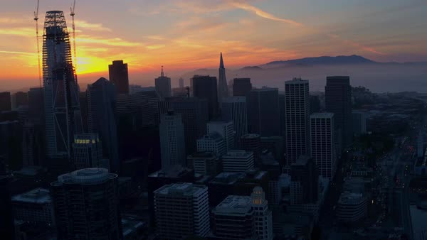 Aerial shot of San Francisco cityscape at sunset Royalty-free stock video