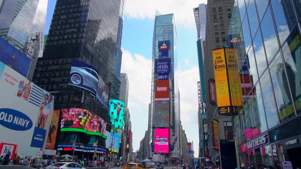 Slow motion shot of traffic on Times Square Royalty-free stock video