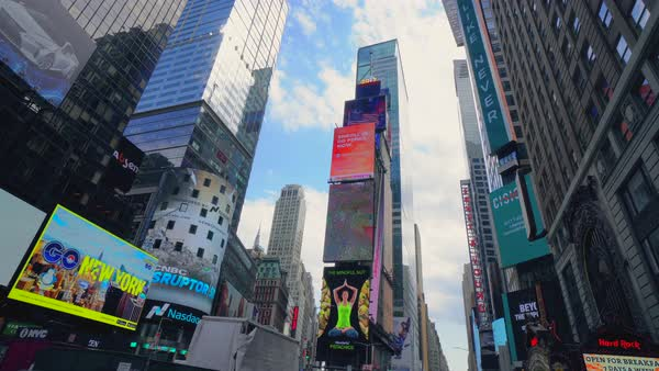Hand-held shot of billboards on Times Square Royalty-free stock video