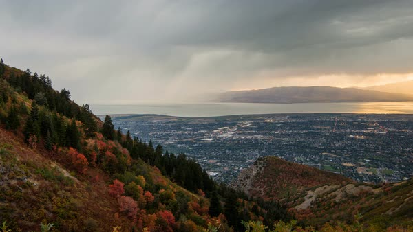 Time lapse of Lightning Storm moving across Utah Valley during Fall Royalty-free stock video
