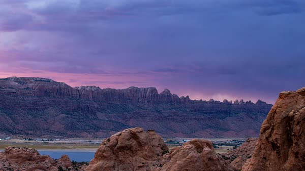 Time lapse of colorful sunset in the desert near Moab Utah Royalty-free stock video