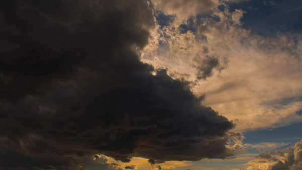 Sky sunset time lapse storm clouds clear sun emerges. Royalty-free stock video