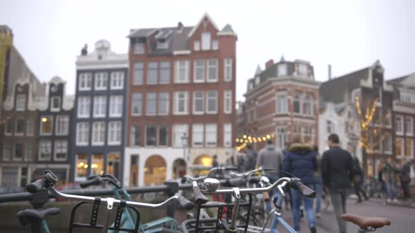Hand-held shot of a street in Amsterdam Royalty-free stock video