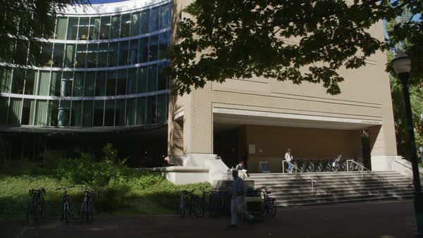 Locked-off shot of a library building at Portland State University campus Rights-managed stock video