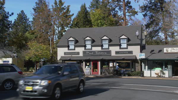 Locked-off shot of Pine Tavern restaurant building in Oregon Rights-managed stock video