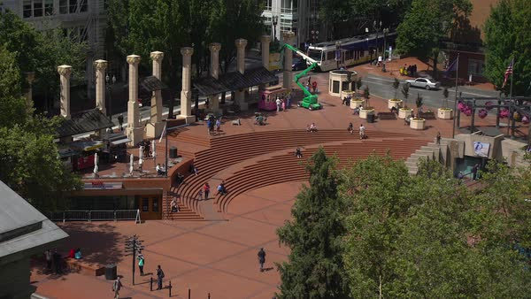 Locked-off shot of Pioneer Courthouse Square Rights-managed stock video