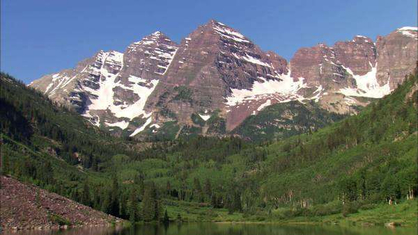 Zooming in shot of Rocky Mountains Rights-managed stock video