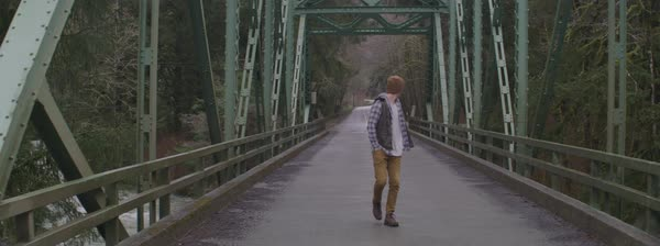 Steadicam shot of a man walking alone on an iron bridge in the woods Royalty-free stock video