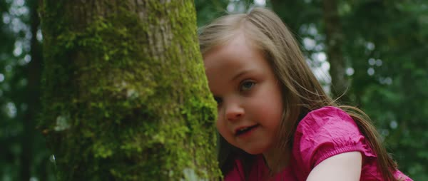 Slow motion shot view of a small girl climbing a tree Royalty-free stock video
