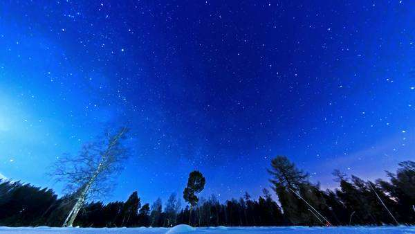 Night starry sky on a fisheye. Fixed distortion. Timelapse Royalty-free stock video