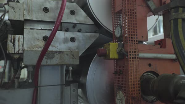 Machine in paper cup factory stock footage