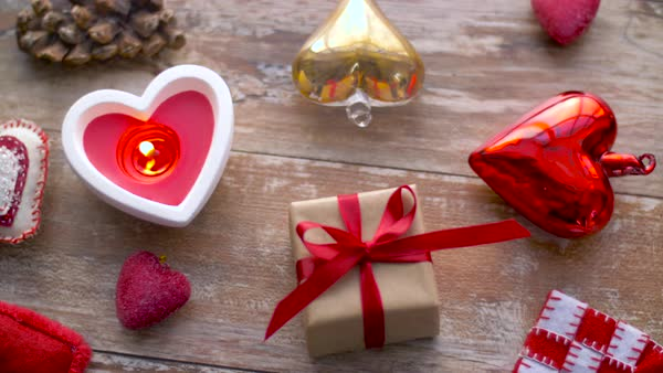 Valentines Day Or Christmas Decorations On Table Stock Footage