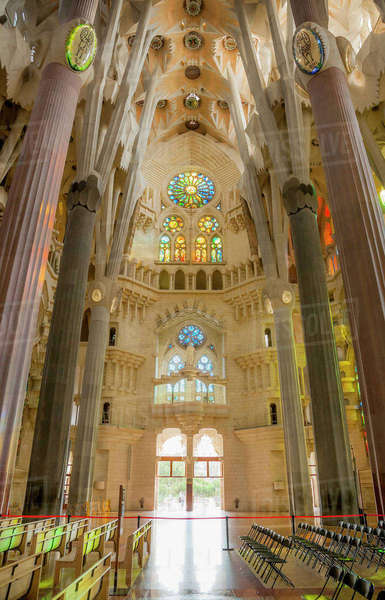Interior familia, sagrada  Barcelona, of La Spain,