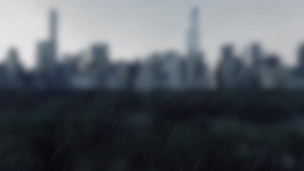 Skyline of New York City with changing weather from dark to bright  Rain to  sun stock footage