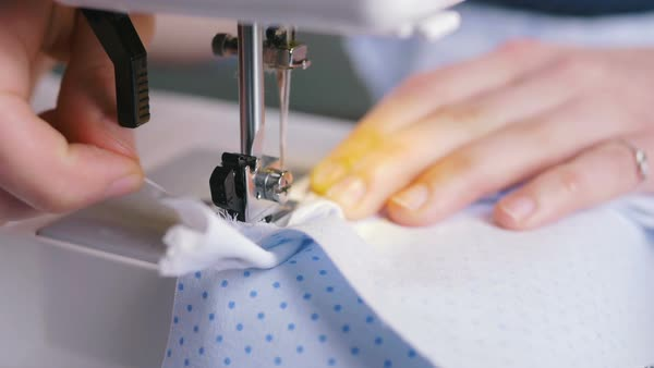 Woman's Hands Working On Sewing Machine Close Up Stock Video Gorgeous Hands Free Sewing Machine