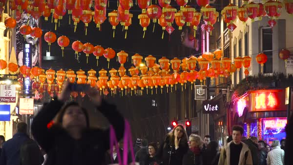 Red Decorative Lanterns Illuminate Soho Wardour Street In November 2018 In London Uk Stock Footage