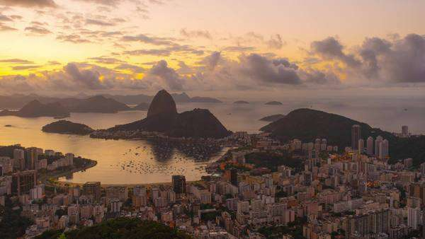 Sunrise timelapse overlooking Rio de Janeiro and Sugarloaf Moutain Royalty-free stock video