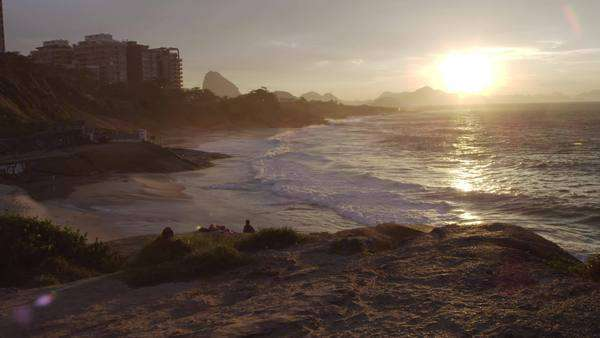 This is a pan shot that moves slowly along the hiking pat at Ipanema Beach in Rio de Janeiro Royalty-free stock video