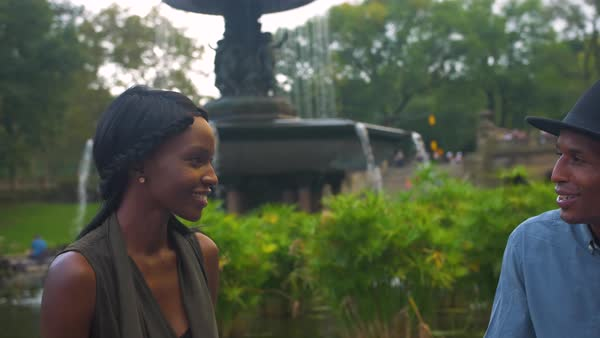Couple at Bethesda terrace fountain in Central Park stock footage