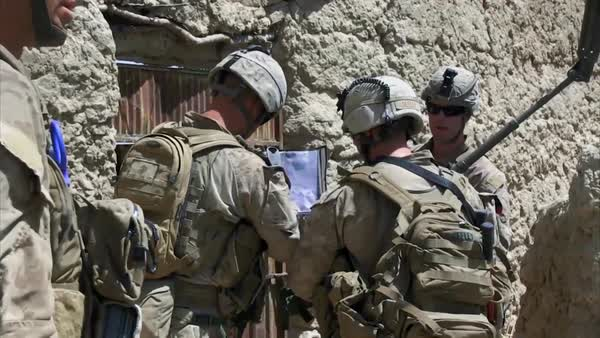 War in Afghanistan - U S  Marines planning attack Kajaki Afghanistan2012  stock footage
