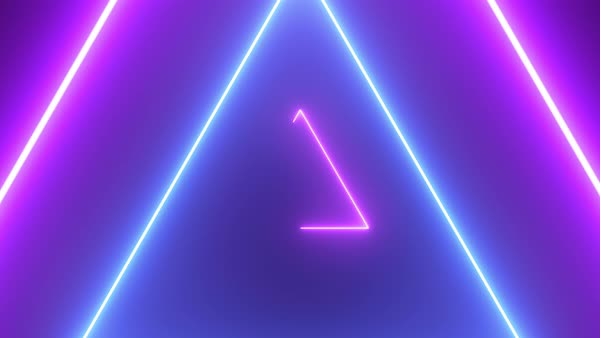 Abstract retro background with neon triangles Seamless loop stock footage