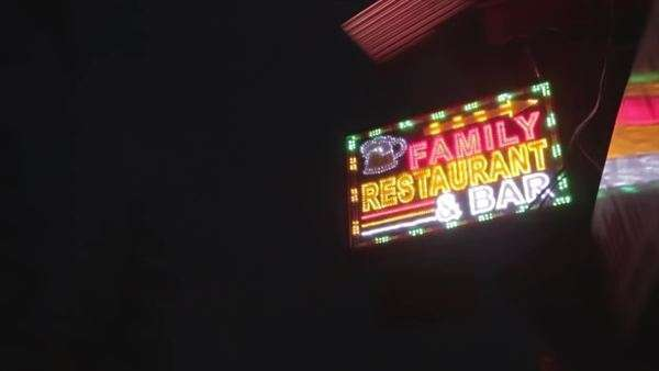 Neon light board over the restaurant in India Royalty-free stock video