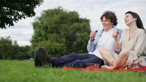 Young couple enjoying strawberries as they sit on a blanket, in slow motion Royalty-free stock video