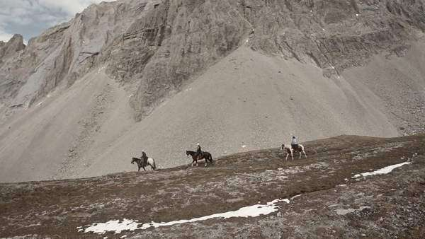 Aerial shot of horse riders in the mountains Royalty-free stock video