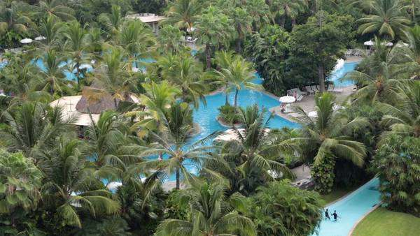 Tropical swimming pools garden luxury resort Mexico. Luxury high priced  D223_8_849