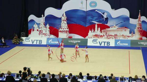MOSCOW - SEPTEMBER 20: End of team performance with ribbons on World  Rhythmic Gymnastics Championships, September 20, 2010 in Moscow, Russia   Russian