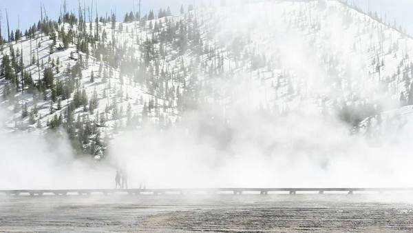 USA, Wyoming, Yellowstone National Park, Midway Geyser Basin, Grand Prismatic Spring, Boardwalk Rights-managed stock video