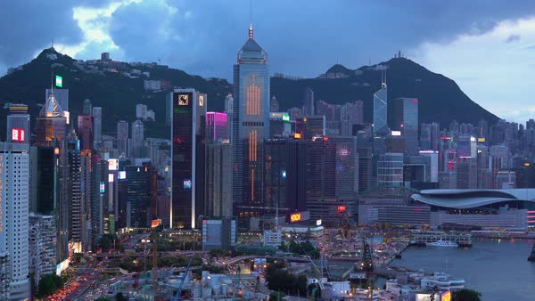 Elevated view, Central district and Victoria Peak, Hong Kong Island, Hong Kong, China Royalty-free stock video