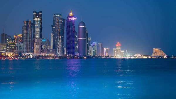 WS T/L Arabian peninsula and west bay central finacial district / Doha, Qatar Royalty-free stock video
