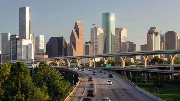 Houston, Texas, USA, highways and downtown city skyline Royalty-free stock video